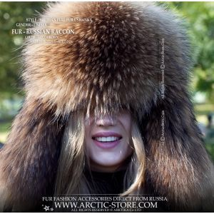 Siberian raccoon ushanka - Russian fur hat