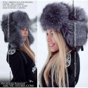 Russian style fur hat for women - winter fox fur ushanka