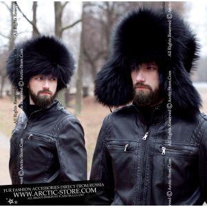 Black fur hat for men - Fashion style men's furs - arctic store