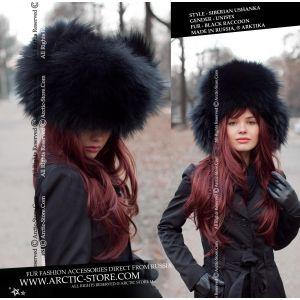 Black fur hat for women - Fashion style women's furs - arctic store