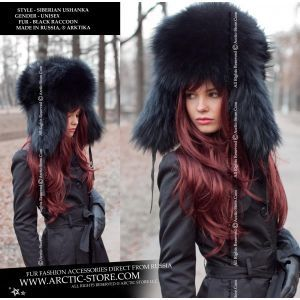 Black fur hat for women - Fashion style women's furs - arctic store