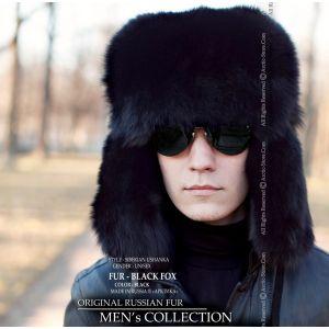 Men's Ushanka fur hat black fox