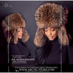 Siberian raccoon ushanka - Russian fur hat