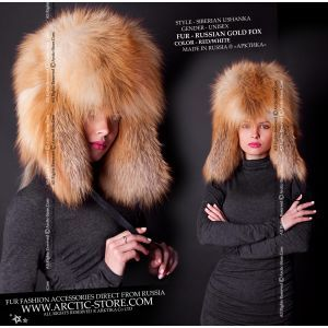 Ushanka gold fox - women's fur hat - arctic-store