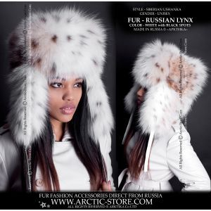 Ushanka Russian lynx - lynx fur hat - arctic-store