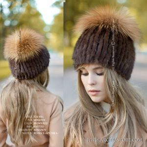 brown fur wig - women's winter beanie