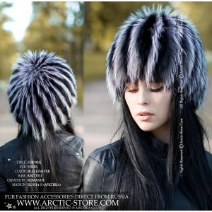 russian women fur wig knit beanie black silver fox