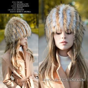 knitten fur beanie - wig raccoon white fox - arctic store