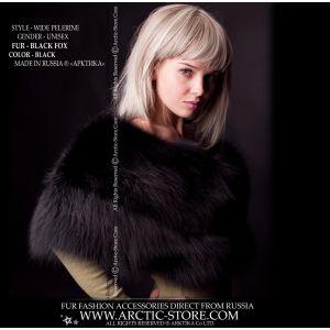 Black fox cape - lady fur collar - russian fur store