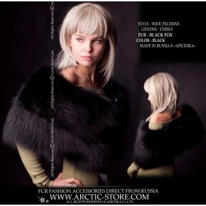 Women's fur pelerine - black fox wrap - arctic-store