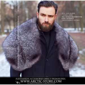 Men's fur pelerine - blue frost fox wrap - arctic-store