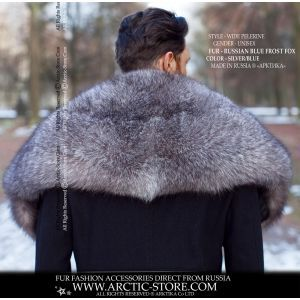 Men's fur cape - silver grey fox collar - arctic-store