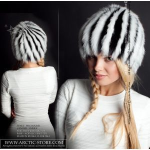 Black White Fox Wig - women's fur beanie - arctic-store