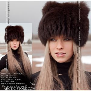 Wig knitted, fur hat, blue fox dyed brown arktika arctic store