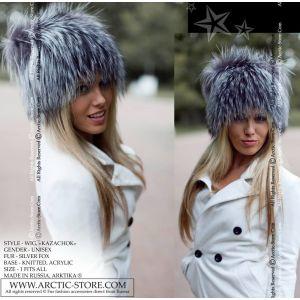 silver fox fur hat wig