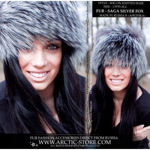 Fur wig - silver fox beanie - arctic store