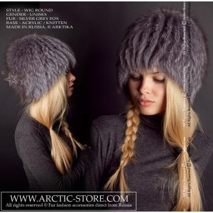 Grey fox wig - silver fur beanie - arcticstore