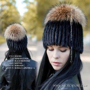 black mink fur hat Russian raccoon top
