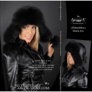 Bomber black hat - fox fur ushanka - arctic store