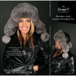 bomber fur hat - grey fox ushanka / arctic-store.com