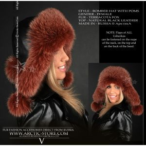Ushanka red brown fur - terracota fox bomber hat - arctic-store