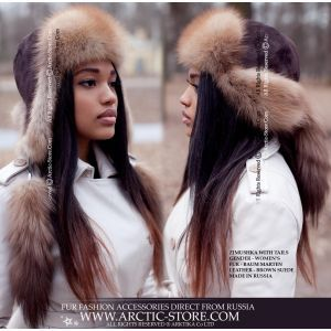 Russian fur hat with tails - marten fur hat / arctic-store