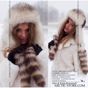 Bomber fur hat with tails - white canadian raccoon / arctic-store