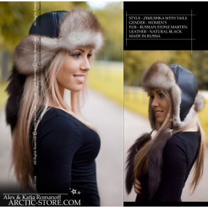 Bomber fur hat with tails - stone marten / arctic-store