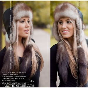 Ushanka fur hat with tails - stone marten / arctic-store