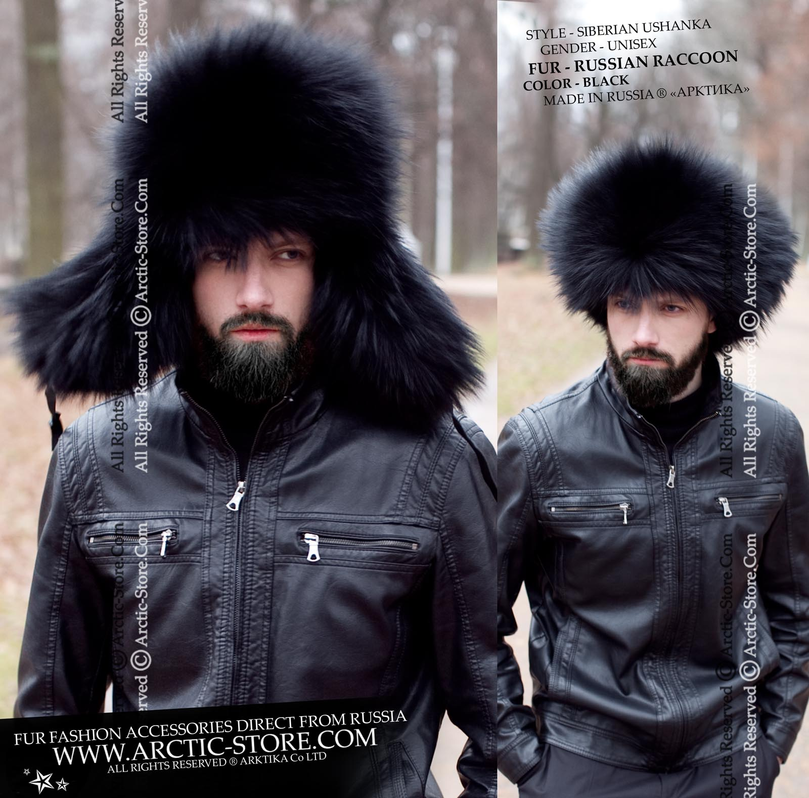 Black raccoon ushanka - Men s fur hat - russian fur store d73d556cc7c